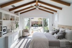 Farmhouse Bedding Sets with Farmhouse Bedroom and Built in Shelving Ceiling Fan Contemporary Farm House Contemporary Farmhouse Exposed Beams Indoor Outdoor King Size Bed Modern Farm House Modern Farmhouse Open to Deck Sliding Doors Wood Ceiling Master Bedroom Addition, Small Master Bedroom, King Bedroom, Master Bedroom Design, Home Decor Bedroom, Bedroom Ideas, Bedroom Furniture, Master Bedroom Plans, Design Room