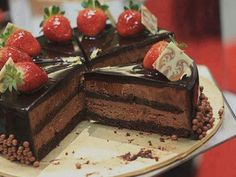 Double Layer Chocolate Cheesecake with Strawberries