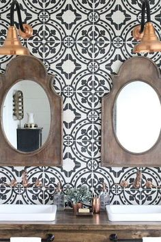 The Bathroom Trend Will Make You Feel Like You're Traveling the World - Try A Cement Statement Wall - Both practical and beautiful, a rustic double vanity sink sings against black-and-white Moroccan tile backsplash. Gray Shower Tile, White Bathroom Tiles, Bathroom Flooring, White Tiles, Black Bathrooms, Chic Bathrooms, Moroccan Tile Backsplash, Vanity Backsplash, Vanity Sink