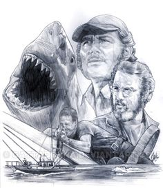 Jaws by gattadonna on DeviantArt Great White Shark Attack, Wolfman Jack, Steven Spielberg Movies, Jaws Movie, Jaws 2, Drawing People Faces, Movie Tattoos, Underwater Pictures, Shark Tattoos