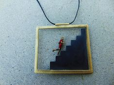 Rectangle Necklace, Architecture Jewelry, Geometric Necklace, Minimal Jewelry, Stairs Jewelry, Woman Jewelry, Gift For Her, Modern Necklace