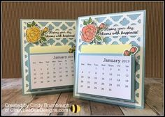 Stampin' Up Tea Together Easel Calendar Video Tutorial – Cindy Lee Bee Designs Homemade Calendar, Post It Note Holders, Christmas Crafts For Gifts, Bee Design, Craft Show Ideas, Desk Calendars, Card Sketches, Creative Cards, Card Templates