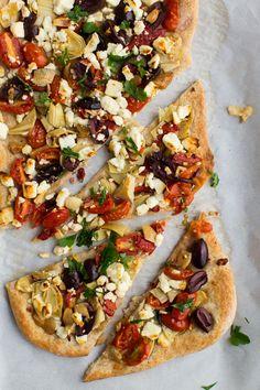 4. Mediterranean Flatbread #mediterranean #dinner #recipes http://greatist.com/eat/dinner-recipes-healthy-mediterranean-recipes