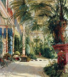 "lionofchaeronea: ""The Interior of the Palm House on the Pfaueninsel near Potsdam, Carl Blechen, 1832 "" Tile Murals, Tile Art, Carl Blechen, Pintura Exterior, House Tiles, British Colonial, Claude Monet, Winter Garden, House Painting"