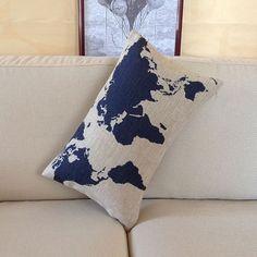 Handmade Decorative Pillow Cover / Lumbar pillow case / cushion cover world map navy blue 12x20