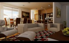 Contemporary Living room warm earth tone open plan