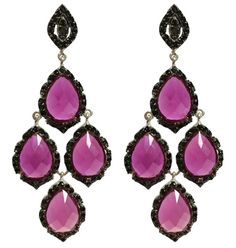 Brilliant black and fuchsia Chandelier earrings... These are certain to make a statement. Sterling silver, black rhodium and fuchsia cubic zirconia $100