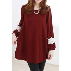 Lace Splicing Pockets Design Long Sleeve Round Collar T-Shirt For Women