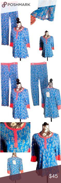 Munki Munki 2 Piece Size Large Pajama Set Munki Munki 2 Piece Size Large Pajama Set  Cute Sock Monkeys of all Designs Base Colors of Blue and Orange Henley Style Top 3/4 Sleeves / Long Pants with Ankle Slits for Comfort Elastic/Drawstring Waist Munki Munki Intimates & Sleepwear Pajamas