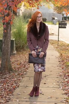 Turning Heads Linkup-Faux Fur - Tweed and Dark Florals for Fall - Over 40 Fashion Blog | Elegantly Dressed and Stylish - Over 40 Fashion Blog