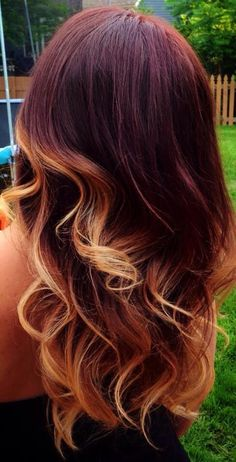 Red ombre blonde tips