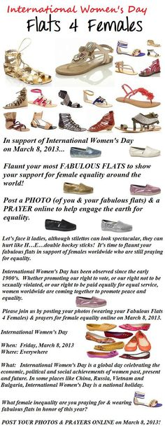 Are you wearing your Fabulous Flats 4 Females today in honor of International Women's Day? Show your support! Post your prayers & pics today! http://www.internationalwomensday.com/flats4females#.UTozaFdZOSo