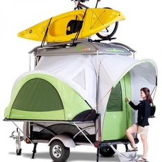 The Hyundai Camper GO is a cool, modern camping trailer so lightweight you can tow it with a small car! A Camper for any size Hyundai that doubles as a gear hauler. Tent Camping Beds, Camping Table, Family Camping, Camping Gear, Camping Hacks, Outdoor Camping, Outdoor Gear, Camping Trailers, Travel Trailers
