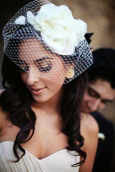 Chiffon Ruffles- bridal hat with birdcage veil