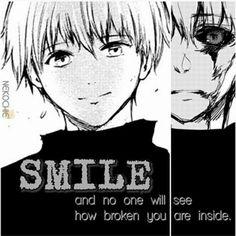 Tokyo Ghoul sorria  e ninguém verá como você está quebrado por dentro