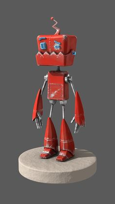 MH Bot by on deviantART red robot Blender 3d, Recycled Robot, Retro Robot, Vintage Robots, Steampunk Robots, Robot Cartoon, Arte Robot, Robots Characters, Robots For Kids