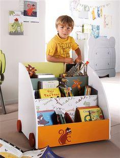 Schönes Bücherregal mit Tiermotiven WEISS/ORANGE