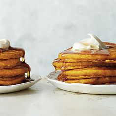 Pumpkin-Almond Pancakes | CookingLight.com