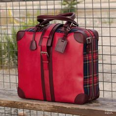 Custom Made Luxury Travel Tote in Red Painted Calf with Tartan and Burgundy Painted Calf Burgundy Paint, Red Paint, Leather Handle, Leather Bag, Travel Tote, Free Travel, Custom Design Shoes, Pet Accessories, Black Fabric