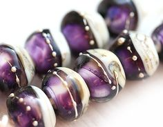 Lampwork glass beads in Purple and Beige handmade by MayaHoney