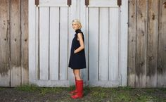 It is a short align dress but love it with the red boots. perfect for the Bay Area fall weather.