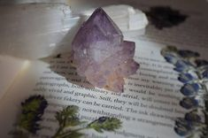 Small Lavender Amethyst Flower Point with Deep Purple Phantoms Deep Purple, Amethyst, Lavender, Ink, Unique Jewelry, Handmade Gifts, Flowers, Etsy, Vintage