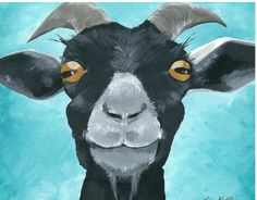 Goat art, goat decor. Goat print from original canvas painting.