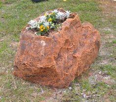 "Cap Fake Rock Planter Shown In Santa Fe Red 51""L x 33""W x 30""H 49 lbs Item # 2155P3"