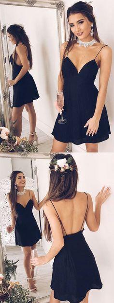 Short Homecoming Dress, Chiffon Homecoming Dress, Spaghetti Straps Homecoming Dress, Sexy Junior School Dress, V-Neck Graduation Dress, Backless Homecoming Dress, LB0508