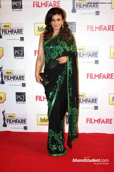 Bollywood Replica Designer Raveena Tandon Black Colored Georgette Saree With Sequence Blouse Bollywood Sarees Online, Bollywood Designer Sarees, Bollywood Dress, Designer Sarees Online, Bollywood Fashion, Bollywood Actors, Latest Indian Fashion Trends, Indian Fashion Designers, Latest Trends