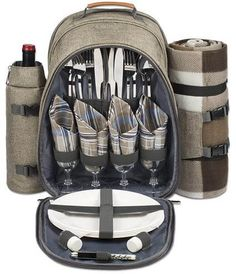 4 Person Picnic Backpack With Cooler Compartment Detachable Bottle Wine Holder Oversized Fleece Blanket Plates And Cutlery Set Hahy Gift Ideas