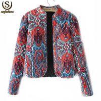 2014 Roupas invierno Femininas para mujer moda diseño Floral Print Outwears chaqueta recortada para mujeres