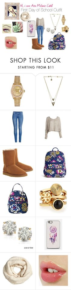 """Aria"" by lovaticlov ❤ liked on Polyvore featuring Rolex, House of Harlow 1960, H&M, UGG Australia, Vera Bradley, Tory Burch and Auriya"