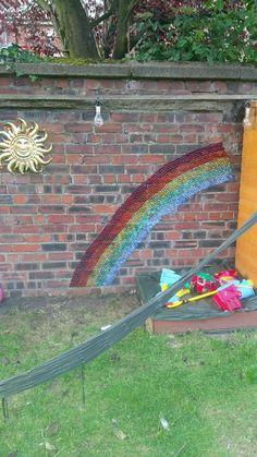 Rainbow beaded wall