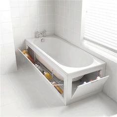 BANHEIRA GUARDA-VOLUMES | que tal ter uma banheira onde pode guardar produtos e acessórios do banho e até toalhas? #organizando #designcriativo #banheira #Tecnisa