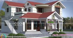 4 bedroom sloping roof 2184 square feet Kerala home design by A CUBE creators, Thrissur, Kerala. Indian House Exterior Design, Modern Exterior House Designs, Kerala House Design, Modern House Plans, 2 Storey House Design, Bungalow House Design, House Front Design, House Layout Plans, House Layouts