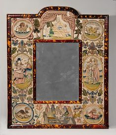 Jael and Barak    Date:      1672  Culture:      English  Medium:      Satin worked with silk and metal thread, beads, purl, mica, seed pearls; detached buttonhole variations, long-and-short, satin, couching, and straight stitches; wood frame, celluloid imitation tortoiseshell, mirror glass, silk, plush