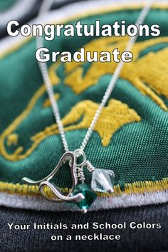 School Color Graduation Necklace. Choose your graduates initial and school colors. Makes a great personalized gift. One initial necklace is $37.50. Like these? Ask how to become an affiliate.