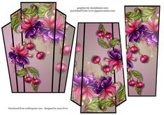 Art Deco Stacker Topper Fuschias on Craftsuprint designed by Anne Lever - This lovely shaped stacker topper features beautifully painted fuschias. It has two stacker layers to add depth.  - Now available for download!