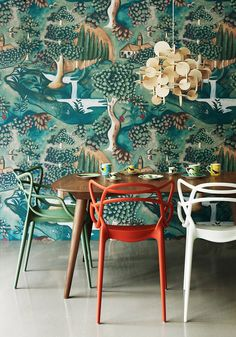 red chair blue wallpaper kitchen dining eclectic 60's 70's asian beatles…