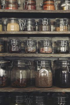 I like how organized this is but spices, tea, etc., would have to be kept out of the sun. via sfgirlbybay Really love this look. A must have for storage .spices, anything else Spice Storage, Pantry Storage, Pantry Organization, Food Storage, Organized Pantry, Storage Containers, Kitchen Storage Jars, Storage Ideas, Canning Jar Storage