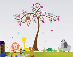 XL Colorful Nursery Wall Decal Tree and jungle by EZWallDecor