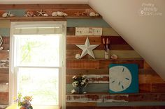 How to install scrap pallet wood on a wall with display ledges. #PlankWalls #Tutorial