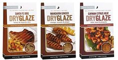 Urban Accents All Natural Grilling And Roasting DryGlaze 3 Flavor Variety Bundle: (1) Urban Accents Santa Fe BBQ Honey & Chipotle Chili DryGlaze, (1) Urban Accents Cayman Citrus Heat Chili, Lime & Jalapeno DryGlaze, and (1) Urban Accents Mandarin Ginger