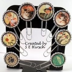 My Mindful Creations / created by S E Hirsch...Graphic 45's Raining Cats and Dogs...bottle cap paperclips with magnets
