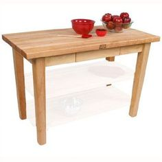 """John Boos BoosBlock Prep Table Size: 60"""" W x 36"""" D, Casters: Not Included, Drawers: Not Included, Towel Rack: Included"""