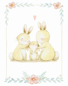Family love #childrensillustration #bunny #watercolor #watercolorpainting…