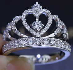 925 Sterling Silver Princess Crown Ring With CZ Inlaid - USD $106.95