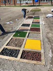 Myers' Kindergarten: Creating Our Barefoot Sensory Path and the Importance of Outdoor Play Outdoor Learning Spaces, Outdoor Play Spaces, Outdoor Education, Early Education, Playground Design, Outdoor Playground, Kindergarten Sensory, Sensory Wall, Sensory Boards