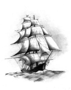 Ship drawing | Compass mural Inspiration | Pinterest | Ship ...
